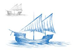 Sketch of old medieval sailing ship - stock illustration