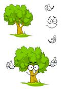 Cartoon tree with attention sign - stock illustration