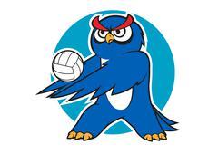 Cartoon blue owl volleyball player - stock illustration