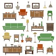 Stock Illustration of Home furniture elements in flat style