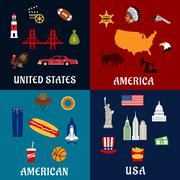 USA travel and american flat icons - stock illustration