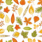 Seamless pattern with autumn leaves Stock Illustration