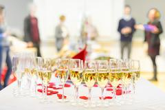 Banquet event. Champagne on table. Kuvituskuvat