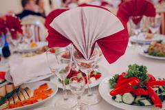 wedding reception food - stock photo
