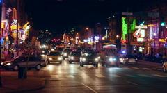 4K Nashville Honky-tonk District Night 1 Stock Footage