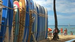Stock Video Footage of rental surfboards at waikiki beach