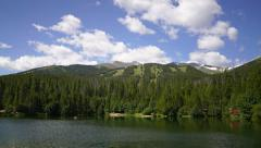 Breckenridge Colorado small lake and mountains timelapse zoom Stock Footage