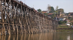 Wooden bridge at Samprasob river Stock Footage