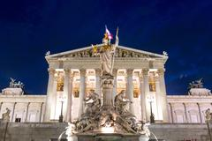 Parliament Vienna austria night Stock Photos