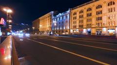 14.08.2015, Kyiv, Ukraine, 4K timelapse, Khreshchatyk night traffic with blurred Stock Footage