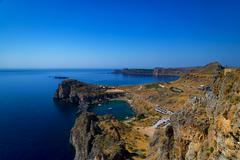 St Paul's Bay and the Acropolis of Lindos - stock photo