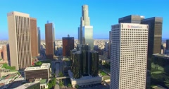 Stock Video Footage of 4K, Aerial  view of  Los Angeles Downtown Skyline, California
