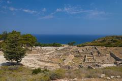 Ancient ruins of Kamiros on Rhodes - stock photo