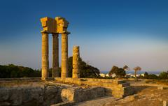 Acropolis of Rhodes at Monte Smith on Rhodes, Greece - stock photo