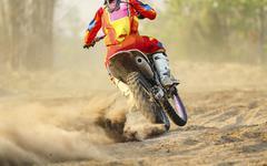 Sand debris from a motocross race Stock Photos