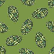 Green Leafs seamless Pattern - stock illustration