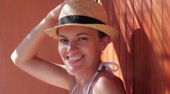 Portrait of happy smiling woman in sunhat HD Stock Footage