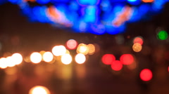 Motion of colourful blurred and defocused lights of city traffic Stock Footage