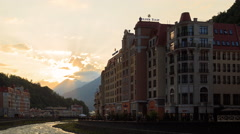 Evening at the Rosa Khutor. Sochi, Russia. 4K Stock Footage