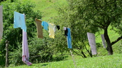 Linen in the yard Stock Footage