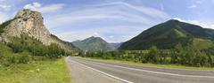 Beautiful panorama of Chuysky Trakt in Altai Mountains Stock Photos