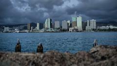 Rising Time Lapse Reveal Honolulu Downtown, Oahu, Hawaii Arkistovideo