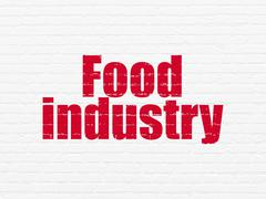 Industry concept: Food Industry on wall background - stock illustration