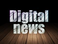 News concept: Digital News in grunge dark room - stock illustration
