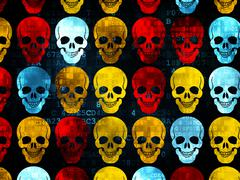 Healthcare concept: Scull icons on Digital background - stock illustration