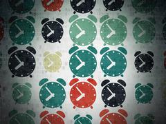 Timeline concept: Alarm Clock icons on Digital Paper background Stock Illustration