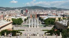 Fountain of Montjuic in Barcelona, Spain Stock Footage