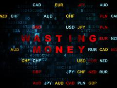 Currency concept: Wasting Money on Digital background - stock illustration