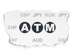 Stock Illustration of Money concept: ATM on Torn Paper background