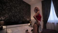 Sexy girl seductive moves on the bed Stock Footage