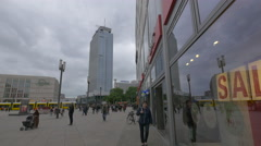 View of Alexanderplatz with stores and hotels in Berlin Stock Footage