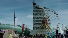 Sail 2015 Bremerhaven 034HD eco house and Atlantic Sail City Hotel Stock Footage