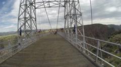 Steadicam POV walking across Royal Gorge suspension bridge Stock Footage