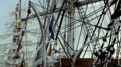 Stock Video Footage of Sail 2015 Bremerhaven 040HD windjammer sails masts and rigging