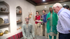 Tourists visit Oman pavilion at Expo Milano 2015 Stock Footage