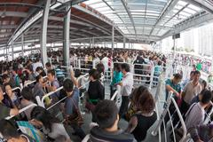 Crowd queuing up outside entrance of World Expo in Shanghai Kuvituskuvat