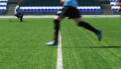 SOCCER: Hot fight for a ball in a centre of field Stock Footage
