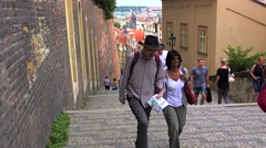 Tourists at the Castle Steps (Zamecke schody) in the Mala Strana district. Stock Footage