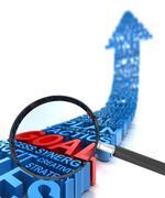 Stock Illustration of Analysing business goal, 3d render