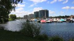 Barrie Marina and Condominium Buildings Stock Footage