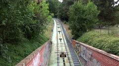 Petrin funicular railway at the bottom of Petrin hill. Prague Stock Footage