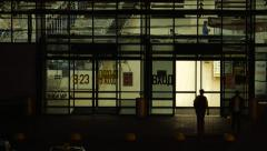 European Supermarket Entrance At Night Hour Stock Footage