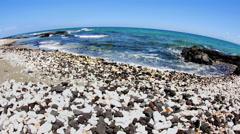 Black and white gravel beach in Kona Hawaii - stock footage