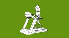 Girl running on a treadmill, sport,girl athlete, jogging track, Stock Footage