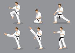 Karate Taekwondo Martial Arts Vector Icon Set Piirros