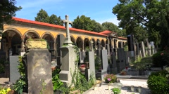 Old Vysehrad cemetery in Prague. Czech Republic. Stock Footage